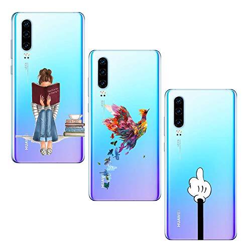 Oihxse [3 pièces Coque Compatible pour Huawei Honor View 20 Transparent Ultra Mince Silicone Gel Souple Housse Crystal Mignon Artistique Motif Protection Antichoc Etui (9)