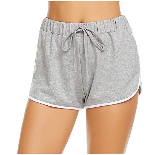 Aniywn Women Casual High Waist Yoga Shorts Pants Women Lace-Up Elastic Waist Solid Color Fitness Short Pants White