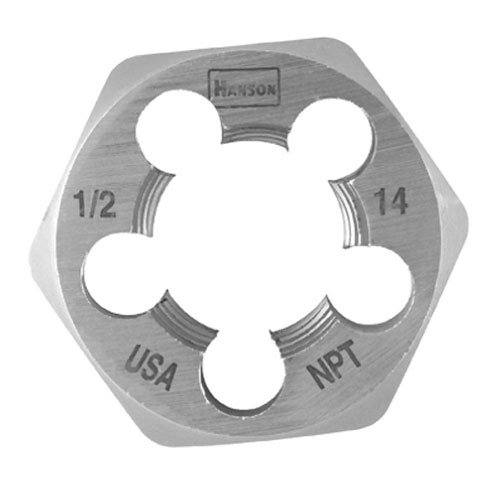 "Hanson 7005 High Carbon Steel Hexagon Taper Pipe Die 1-7/16"" Across Flat Die 1/2""-14 NPT"