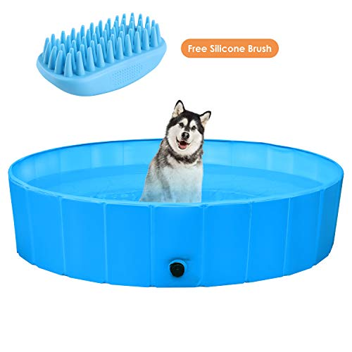 POTBY Foldable Pet Swimming Pool, Portable Collapsible Dog Bathing Tub, Round PVC Leakproof Water...