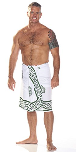 1 World Sarongs Mens Celtic Sarong in Shamrock Trinity White/Green