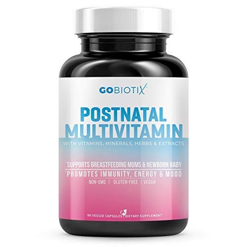 GoBiotix Postnatal Vitamin - Postpartum Vitamins for Energy, Mood, Breastfeeding Support - Lactation Supplement with Organic Herbs, Minerals, Nutrients for New Moms + Baby, Non-GMO Vegan, 60 Capsules