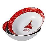 VEWEET, Christmastree, 2 ensaladeras, Cuencos Grandes, para reuniones, Familiares, Porcelana