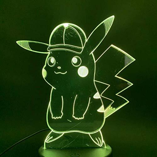 Lámpara de ilusión óptica Juego de luz nocturna Pokemon Go Pikachu con gorra Figura 3d Lámpara led 7 colores Cambio de interruptor táctil