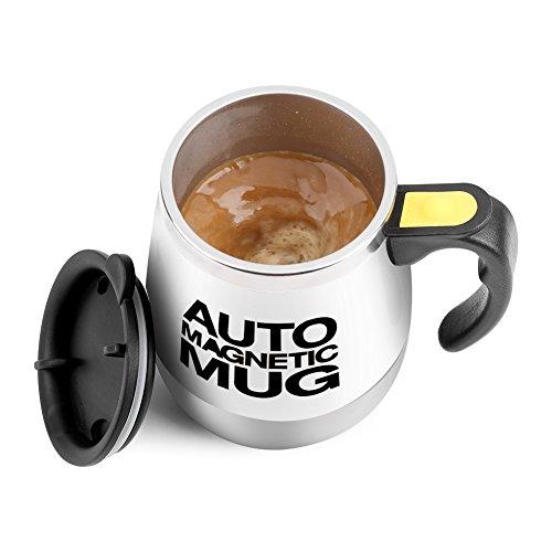 Magnetischer mischender Becher Selbst rührende Kaffeetasse Edelstahl Selbstmagnetbecher für Kaffee Tee heiße Schokoladen Milch Kakao Protein (Weiß)