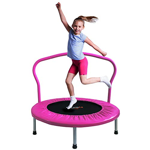 ATIVAFIT 36-Inch Folding Trampoline Mini Rebounder,Suitable for Indoor and Outdoor use, for Two Kids with safty Padded Cover Pink