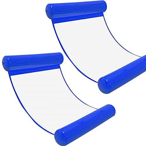 Wasserhängematte Luftmatratze aufblasbare Schwimmende Wasser Bett Strandmatte Floating Lounge Stuhl (Dark blue*2)