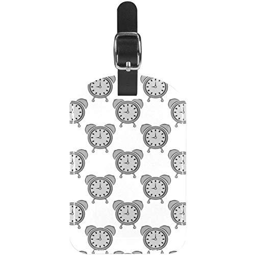 Gepäckanhänger Grauer Wecker aus Leder, Reisegepäcketiketten, 1 Packungen