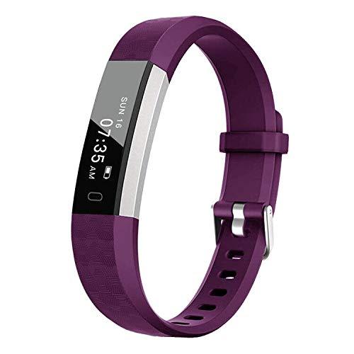 BIGGERFIVE Fitness Tracker Watch for Kids Girls Boys Teens, Activity Tracker, Pedometer, Calorie Sleep Monitor, Vibrating Alarm Clock, IP67 Waterproof Step Counter Watch (Purple)