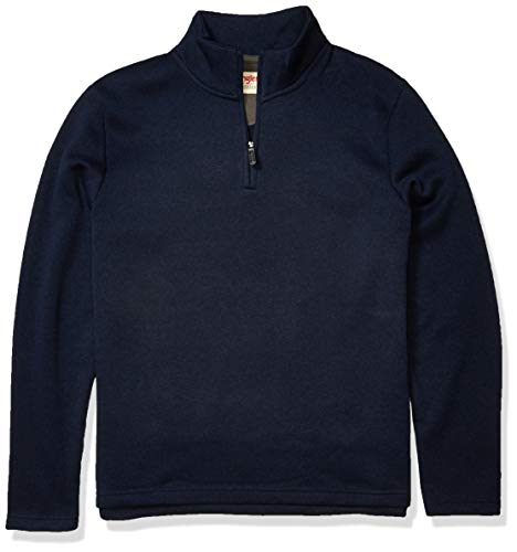 Wrangler Authentics Men's Sweater Fleece Quarter-Zip, Mood Indigo, Large