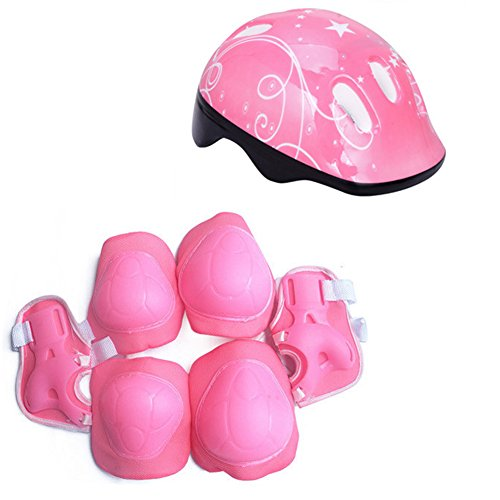 Enfants 7 Pièces Sports de Plein Air Équipement de Protection Set Garçons Filles Cyclisme Casque de Sécurité Set [Genouillères et Protège-Poignets] pour Roller Scooter Skateboard Vélo(Pink)