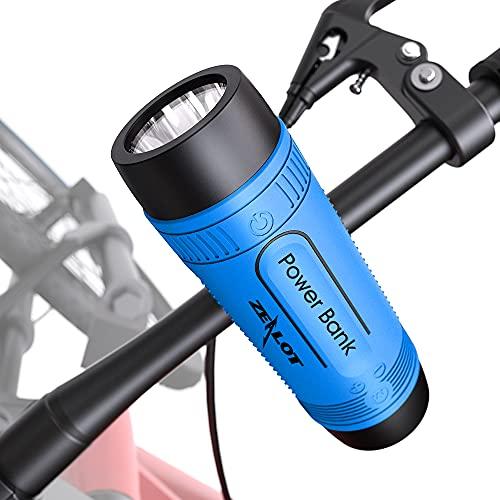 Zealot Bluetooth Lautsprecher mit Taschenlampe,Tragbarer,IPX5 Wasserdicht,10 W,Bluetooth 5.0,Power Bank Versorgung,Lautsprecher für Fahrrad,15h Akku mit AUX/TF-Karte/USB Für Outdoor Reisen(Blau)