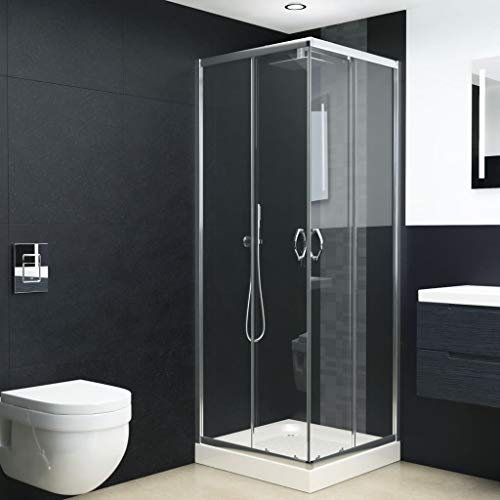 "Corner Shower Enclosure Clear Glass Sliding Shower Doors, Chrome Finish Bath Shower Door Glass 35.4""x27.6""x70.9""(Lx W x H)"