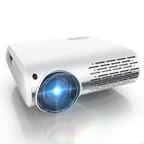 YABER - Videoproiettore, 4500 lumen, Full HD 1080P (1920 x 1080) proiettore con regolazione trapezoidale 4D, due altoparlanti stereo HiFi e 3 dissipatori di calore tramite ventola integrata projecteur