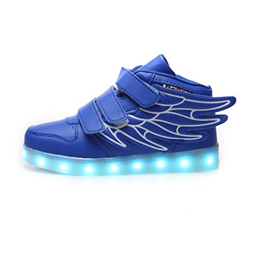 DoGeek Scarpe LED Bambino Scarpe con Luci Luminosi Sneakers con Luce nella Suola Bright Tennis Scarpe Ali USB 7 Colori Lampeggiante Trainners (34 EU, 1BLUE)