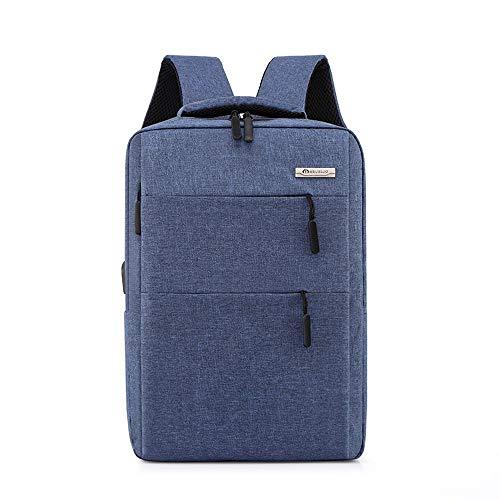 MDYHJDHYQ Rucksack für Männer Großer Kapazitäts-Schule-Rucksack, Geschäftsreise Laptop Rucksack mit USB-Ladeanschluss, Wasserdicht College-Tasche (Color : Blue)