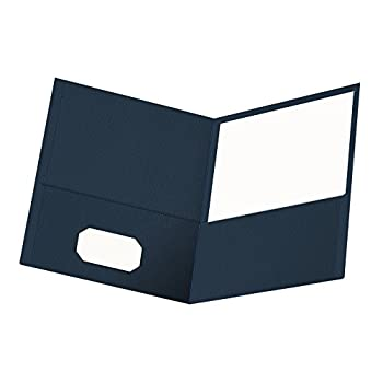 Oxford Twin-Pocket Folders Textured Paper Letter Size Dark Blue Holds 100 Sheets Box of 25  57538EE