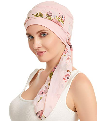 Bamboo Cotton Lined Cancer Headwear for Women Chemo Hat with Scarfs of DORALLURE Pink