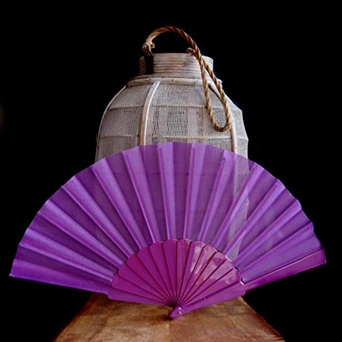"Quasimoon PaperLanternStore.com 9"" Violet Nylon Hand Fans for Weddings (10 Pack)"