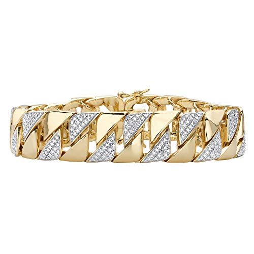 Men's 18K Yellow Gold Plated Genuine Diamond Accent Interlocking Link Bracelet 8.5'