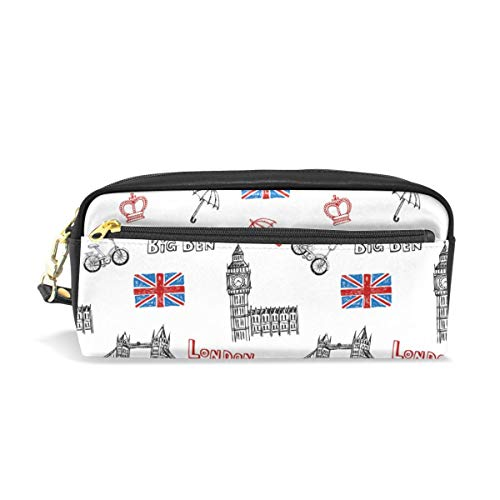 KKLDOGS - Estuche para lápices de piel con diseño de bandera británica y Londres Big Ben