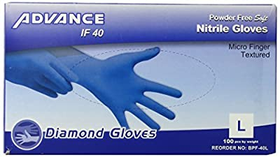 Diamond Gloves Advance Powder-Free Soft Nitrile Industrial Gloves, 100 Count