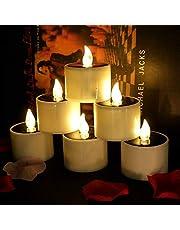 Conjunto de 6 velas solares Luz de té con velas LED sin llama con energía solar parpadeante Perfecto para Navidad, decoración del día de San Valentín, centro de mesa de fiesta, cumpleaños, bodas