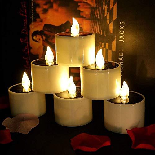 Solar Kerzen Outdoor Wasserdicht Flammenlose Kerzen Außen Interior Solar Teelichter Perfekt für Weihnachten, Party, Geburtstag, Hochzeit, Festivals(6 Stück, Warmweiß)