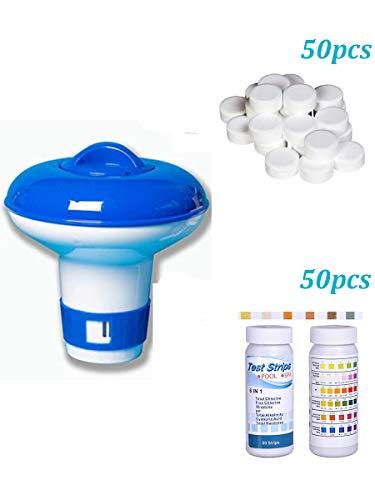 Multifunktionale Chlortabletten mit schwimmendem Spender und 50 Stück 6-in-1 Wasserteststreifen – Chlortabletten + 50 Teststreifen + Spender Whirlpool-Starter-Set (Pool & Whirlpool-Chemikalien-Sets)