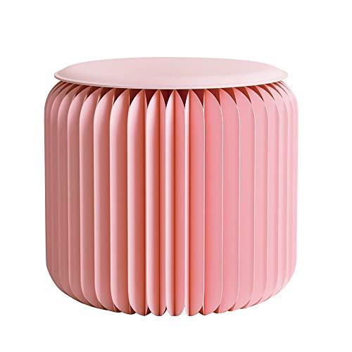 Totovy Moderno Protección Ambiental Moderno Telescópico Portátil Portátil Papel Kraft Pequeño Banco Pink Rosa Redondo Taburete bajo con cojín de Cuero Moda Mesa de café Red Pequeño Mueb