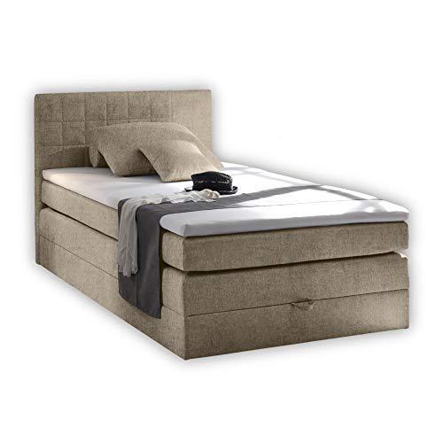 Stella Trading HAWAII 3 Boxspringbett 140x200 mit Bettkasten, Sand - Bequemes Bett mit 7-Zonen-Federkern Matratze H2-H3 und thermoelastischem Visco Topper - 141 x 107 x 209 cm (B/H/T)