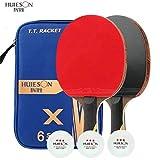 5 Star 2 Long HUIESON 2Pcs Carbon Table Tennis Racket 5 Star/6 Star Super Powerful Ping Pong Racket Bat with 3Pcs Balls for Training Match