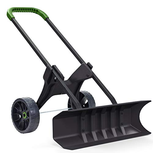Heavy Duty 30 Inch Rolling Snow Removal Push Plow Shovel on Wheels with Never Flat Tires and Back Saving Design - Made in USA - by Vertex Model P831