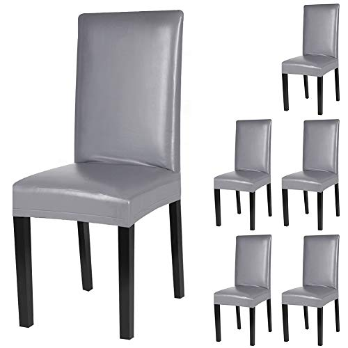 YISUN Dining Chair Covers, Solid Pu Leather Waterproof and Oilproof Stretch Dining Chair Protector Cover Slipcover (Pure Grey, 6 Pack)