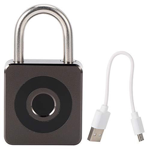 Zerodis Security Lock, Intelligent Anti‑Theft Keyless Padlock Support 20 Fingerprints Lock Portable USB Security Locks Dark Gray
