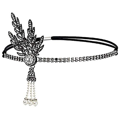 TOOGOO Femmes Mariage Tiara Perles de Mariee Accessoires de Casque Bandeau (Noir)