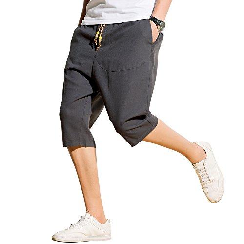 Harrms サルエルパンツ メンズ ハーフパンツ 半パンツ 麻 ズボン ショートパンツ 袴パンツ 7分丈 クロップドパンツ ゆったり ワイドパンツ 短パン 夏 無地 スウェット 調整紐 大きいサイズ 10カラーの画像