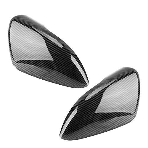 JUN-STORE SENMIAO-TH 2 Piezas de Espejo retrovisor Lateral Cubiertas Caps Negro de Fibra de Carbono Recorte Shell for VW for Golf MK6 R20 for Touran for el Golf GTI 6R