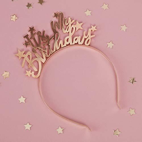 Miss Lovely Haar-Reif Haar-Schmuck It's My Birthday aus Metall in Gold Geburtstags-Zubehör Geburtstags-Geschenk Kostüm Verkleidung Accessoire-s Geburtstags-Feier Erwachsene & Kinder Happy Birthday