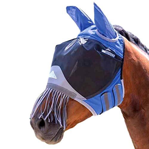 Shires Deluxe Fliegenmaske mit Nasenfransen, Königsblau