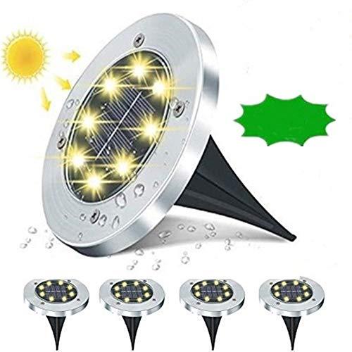 Solar Bodenleuchten, Solarleuchten Garten Solarleuchten unterirdische Lichter 8 LEDS Solarleuchten Solarlampen Gartenleuchten für Außen Solarlicht IP67 Wasserdicht für Rasen 4 Stück