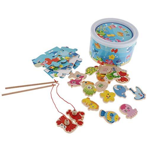 MagiDeal Jouet de Bain - Jeu de Pêche - Poisson et Canne à Pêche avec Jigsaw Puzzle pour Enfant Fill Garcon 3 4 5 6 Ans