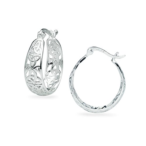 River Island Sterling Silver High Polished Celtic Knot Filigree Hoop Earrings