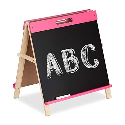 Relaxdays Children's Chalkboard Double-Sided Foldable Table Board for Kids Mobile Chalkboard Girls Pink