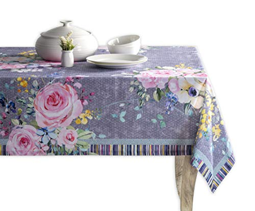 Maison d' Hermine Sweet Rose Lavender 100% Cotton Tablecloth for Kitchen Dining | Tabletop | Decoration | Parties | Weddings | Spring/Summer [Lush Lavender Roses (Rectangle, 60 Inch by 108 Inch)]