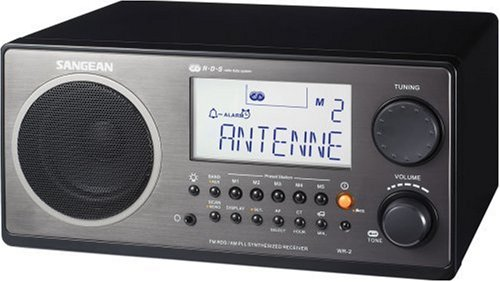 Sangean WR-2 AM / FM-RBDS Wooden Cabinet Digital Tuning Radio (Black)