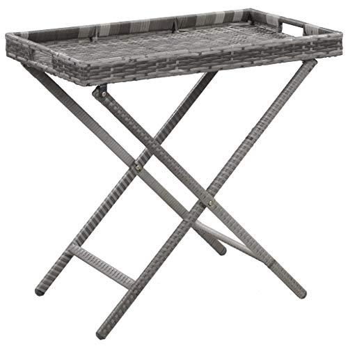 vidaXL Folding Table Outdoor Indoor Garden Patio Backyard Balcony Terrace Furniture End Side Tea Accent Stand Grey 80x45x75cm Poly Rattan