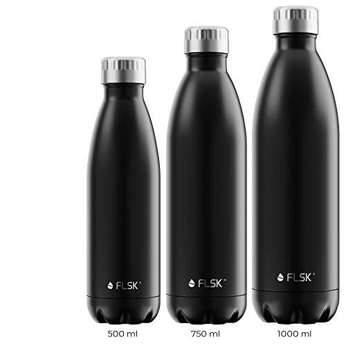 FLSK La bouteille isotherme originale conserve la chaleur pendant 18 heures et le froid pendant 24 heures (couleur noir, taille : 1000 ml).