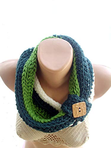 Popular products STRIPED BUTTON COWL CROCHETING INFINITY SCARF Sale LOOP