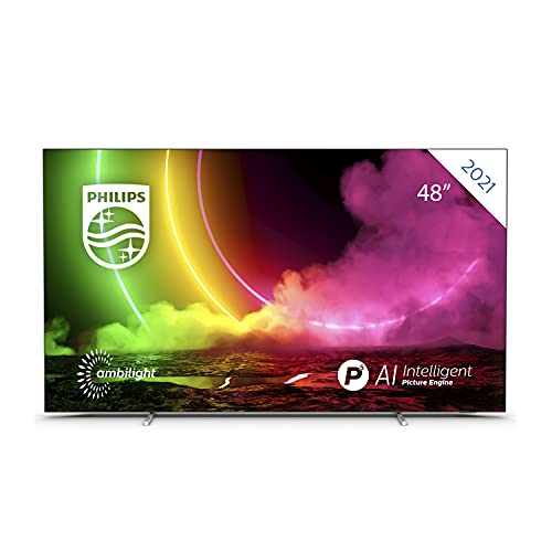 Oferta de Philips 48OLED806 / UHD OLED Android TV 48 Pulgadas, Smart TV 4K con Ambilight, Imagen HDR Vibrante, Visión Dolby cinematográfica y Sonido Atmos, Compatible con Google Assistance y Alexa, Plateada